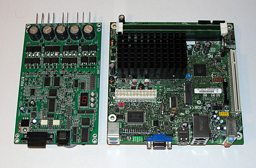 AX3500 and Intel Mini ITX mainboard side by side